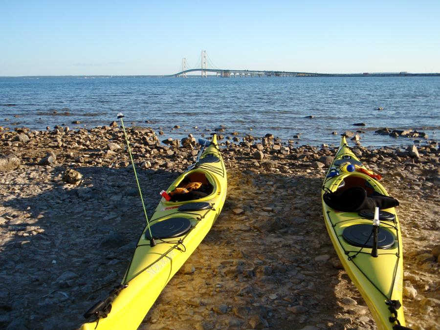 Kayaking under the Mackinac Bridge
