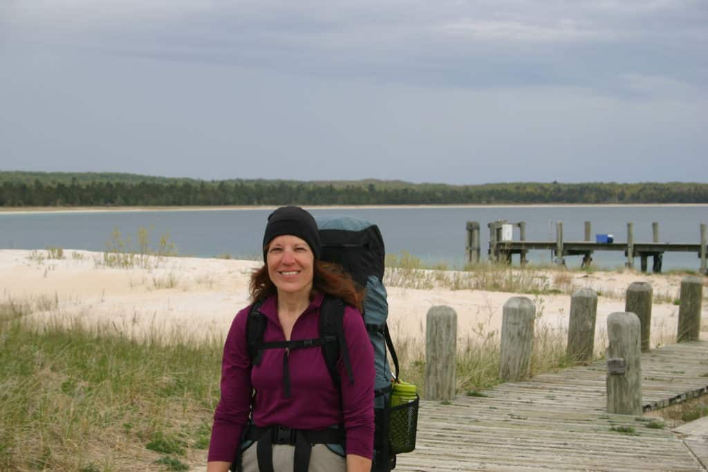 Backpacker at the South Manitou Island Ferry Docks